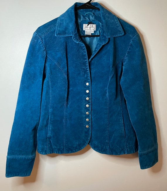 Vintage 70's turquoise suede leather jacket!