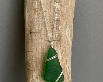 Sea Glass Necklace   Sterling Silver   Sea Glass Pendant   North Devon   Handmade Jewellery   Beach jewellery   Gifts For Her