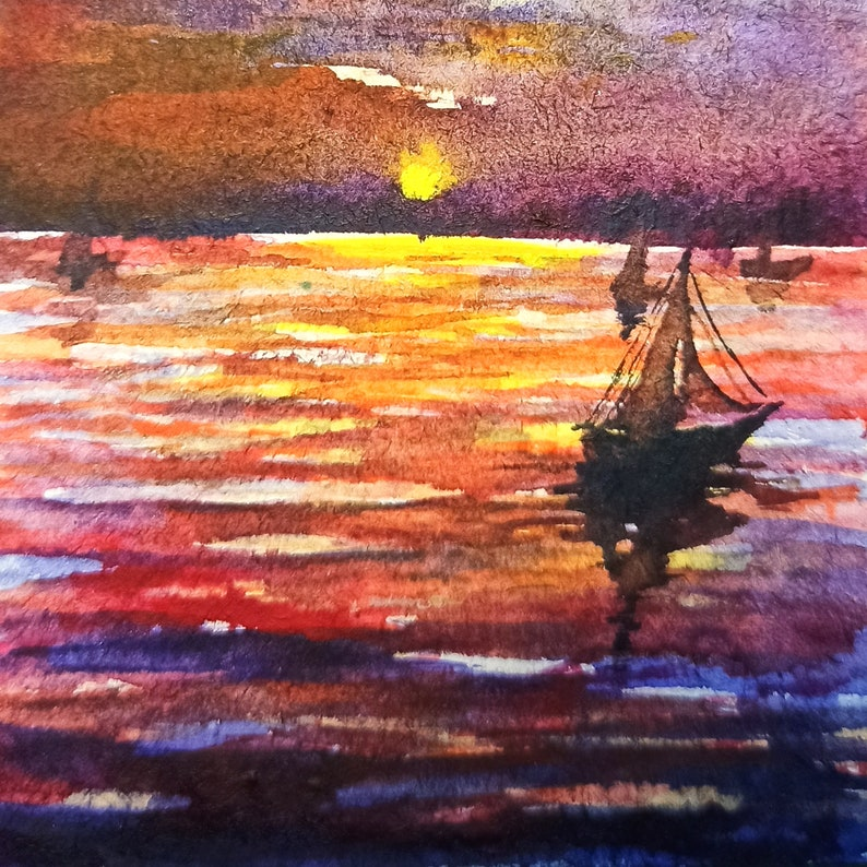 Sailboat seascape painting ACEO watercolor one of a kind original artwork Gift for him Blue seascape
