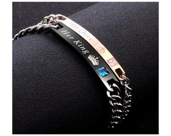 LX/_ LC/_ His Queen Her King Couple Bracelet Matching Bangles Lovers Jewelry Gif