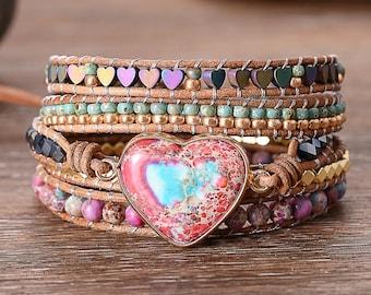 Genuine Leather Custom sizes available Gemstone Five-Wrap Bracelet Creamy Rose Pinks