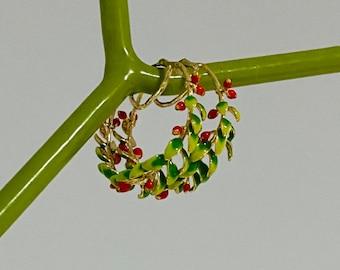 Rosebud Berry Vine oil painted enamel hoop earrings, floral leaves red fruit jewellery. Vintage french style