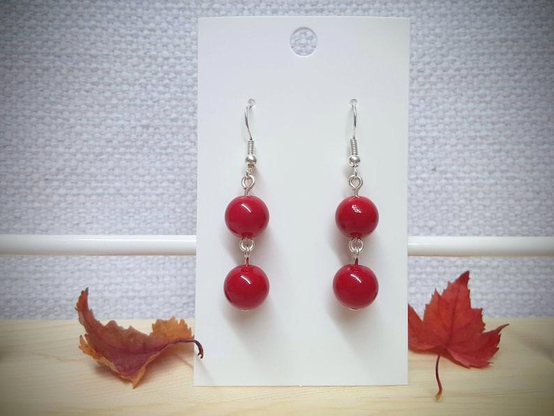 Red Glass 2 Bead Dangle Earring