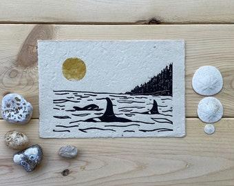 Orca Pod Wall Print-Linocut