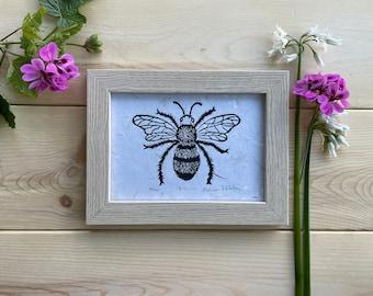 Bee Wall Print-Linocut