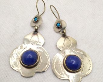 Turkman Style Tribal Dangling Earrings, Stones Antique Earrings, Kuchi Boho Earrings, Vintage Costume Jewelry, Turkman Jewelry, Old Jewelry