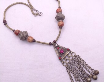 Beaded Chain Long Dangling Pendant Necklace, Tribal Antique Pendant, Old Necklace, Tribal Jewelry, Handmade Jewelry, Ethnic Jewelry