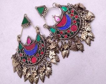 Kuchi Multicolor Glass Stones Antique Massive Earrings, Kuchi Boho Chandbali, Tribal Earrings, Old Jewelry, Vintage Costume Jewelry