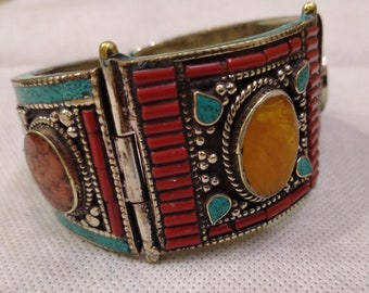 Cuff Bracelet, Turquoise and Coral Stones Cuff Bracelet, Nepalese Cuff Bracelet, Vintage Boho Cuff, Stone Jewelry