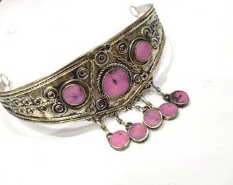 Afghan Pink Stone Tribal Crown, Ethnic Boho Girls Crown, Kuchi Jewelry, Handmade Jewelry, Hair Jewelry, Boho Jewelry, Hair Accessories
