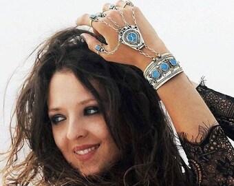 Vintage Slave Bracelet, Bracelet with Rings, Afghan Slave Bracelet, Panja, Ethnic Bracelet, Boho Jewelry, Gift For Her