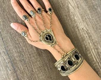 Slave Bracelet Ring 14k Gold Fill or Sterling Silver Tiny Black Onyx Finger Bracelet Body Jewelry