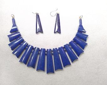Lapis Lazuli Vintage Choker Necklace With Earrings, Stone Jewelry Set, Vintage Jewelry, Tribal Choker, Ethnic Jewelry Set