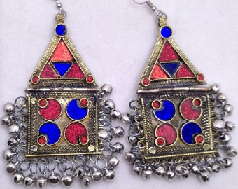 Tribal Dangle Earrings With Bells, Kuchi Vintage Massive Red and Blue Glass Stones Earrings, Antique Jewelry, Kuchi Jewelry, Vintage Jewelry