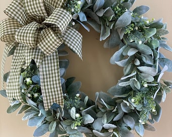 Year-Round Lamb's Ear Wreath (with or without bow)