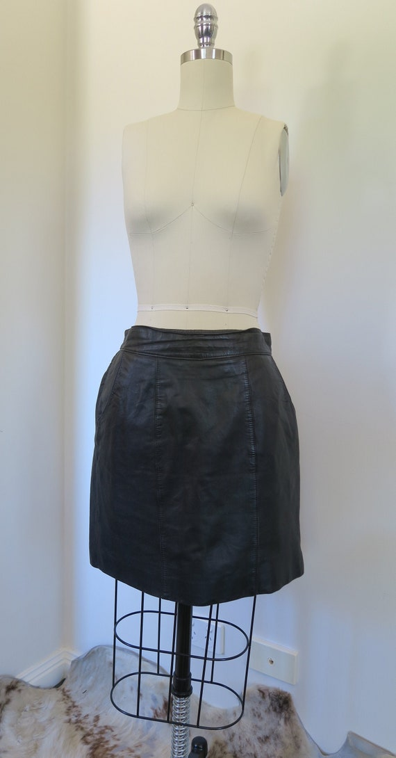 Vintage Black Leather Skirt with Pockets