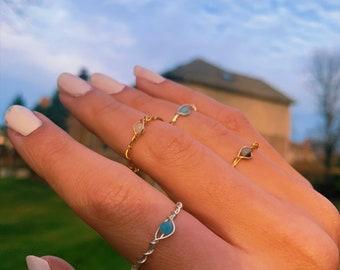 Gemstone Rings Handmade Ring Silver Rings Adjustable Ring Silver Wire Ring Braided Ring Wire Jewelry