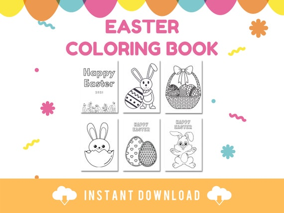 PRINTABLE EASTER COLORING book pages  Digital download of 20