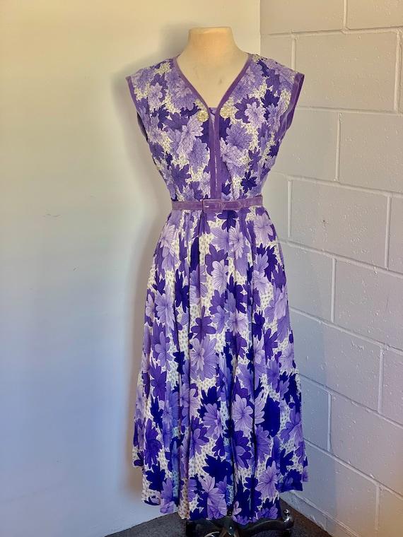 Vintage 1960's Lavender Floral Party  Dress
