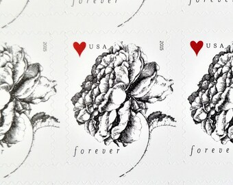 Rose Postage Stamps, Forever Stamps, Wedding Floral Stamps, Black and White Stamps for Mailing