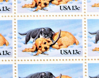 Kitten and Puppy in the Snow Postage Stamps, Unused Puppy Kitten Vintage Postage Stamps for Mailing