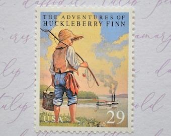 Vintage Huckleberry Finn Postage Stamps, Mark Twain Book Postage Stamps, Unused 29 Cents Vintage Stamps for Mailing (5)