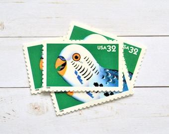 Bird Parakeet Stamps Unused, Bright Eyes Pet Parakeet Vintage Postage Stamps for Mailing