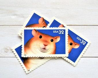 Hamster Postage Stamps, Brown Hamster Vintage Postage Stamps for Mailing
