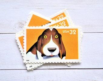 Vintage Dog Postage Stamps, Hound Dog Puppy Vintage Postage Stamps for Mailing