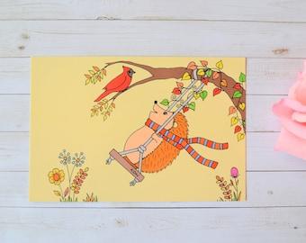 Hedgehog Autumn Art Postcard, Fall Foliage Illustrated Postcard Set