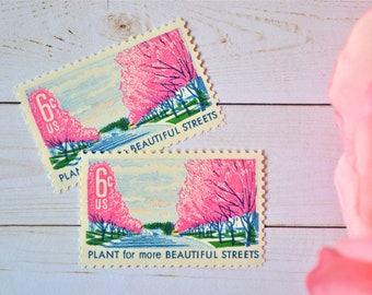 Vintage Pink Flowers Stamps, Cherry Blossoms, Pink Beautification Postage Stamps, Pink Tree Blossom Stamps for Mailing (10 Stamps)