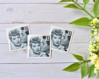 I Love Lucy Vintage Stamps, Unused US Postage Stamps, Classic TV, Lucille Ball, Black and White TV, Comedy Postage Stamps For Mailing
