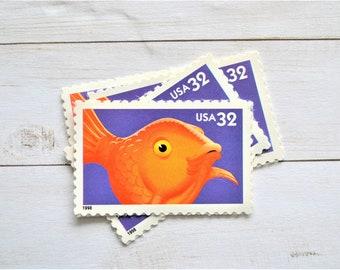 Goldfish Stamps Unused, Pet Fish Vintage Postage Stamps for Mailing