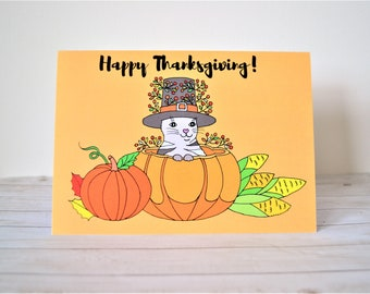 Thanksgiving Greeting Card, Happy Thanksgiving Card, Illustrated Greeting Card
