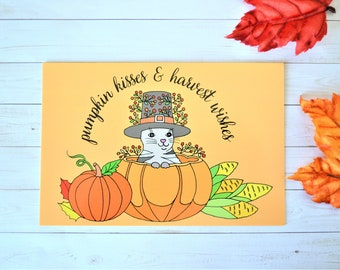 Thanksgiving Art Postcard, Cat and Pumpkin Illustrated Postcard for Mailing