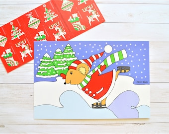 Christmas Mouse Art Postcard, Mouse Winter Ice Skating Illustrated Postcard