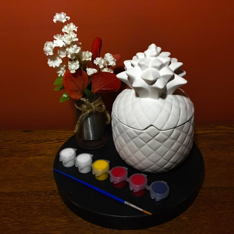 Ceramic Pineapple Canister Paint your own Pottery Pineapple Decor Bisque Glazed Inside Kitchen Pineapple Canister Ceramic Kit to Paint