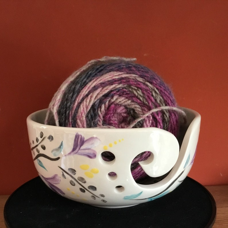 Yarn Bowl to Paint Pastel Yarn Bowl Gift for  Knitters Bowl image 0