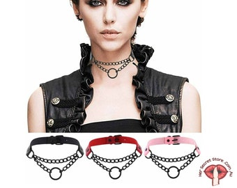 BDSM Collar Leather Choker with Chain, bondage collars, Gothic Clothing, Sexy Adult, Chain Neck Sleeve, BDSM Adult Game Toy, romantic gifts