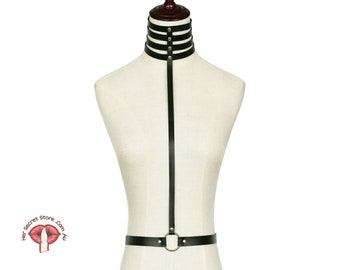 Harness bra, Chest body harness, Cage bra, Women vegan leather harness, Bdsm, Harness belt , Sexual Harness, Burlesque goth fashion
