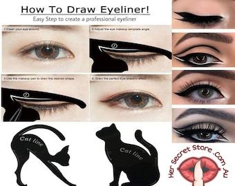 2 Pieces Cat Eyeliner, DIY eyeliner stencils, Winged eyeliner stamps, Beauty Make-up Set, Cat line eye makeup tool, Best eyeliner for wings