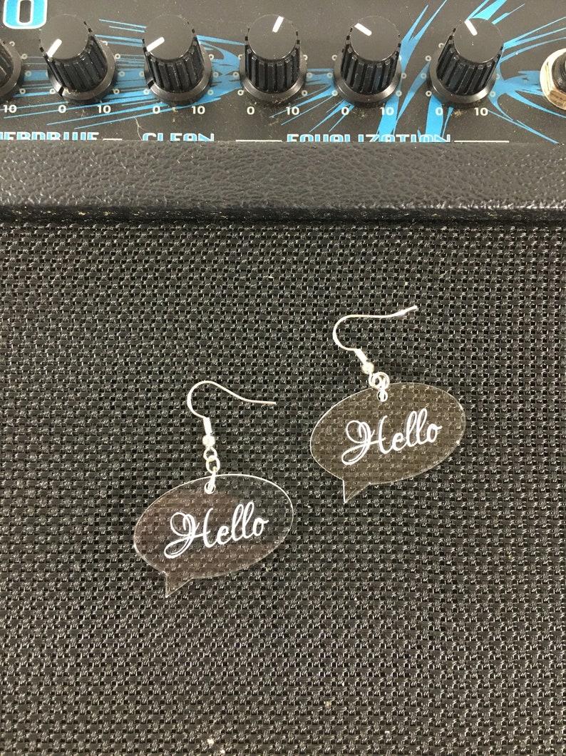 Hello World Earrings in acrylic
