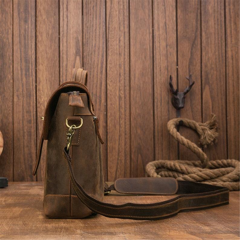handmade leather messenger bag messenger bag men/'s backpack 15 Personalized leather messenger bag crazy horse skin shoulder bag