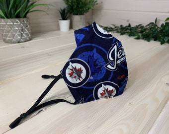 Winnipeg Jets 2 - Reusable 3 layer fabric face mask in Canada – Machine washable fabric mask – Three layer mask.