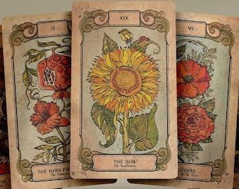 Botanica Oculta Tarot 78 +2 Extra Cards Deck Antique Edition Flower Illustration Herb Vintage Botanical Medieval Occult Practice Devination
