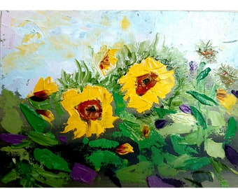 Sunflowers Painting Original Painting Floral Original Art Flowers Art Flower Wall Art Impasto Oil Painting 6 by 8 by MilaArtBy