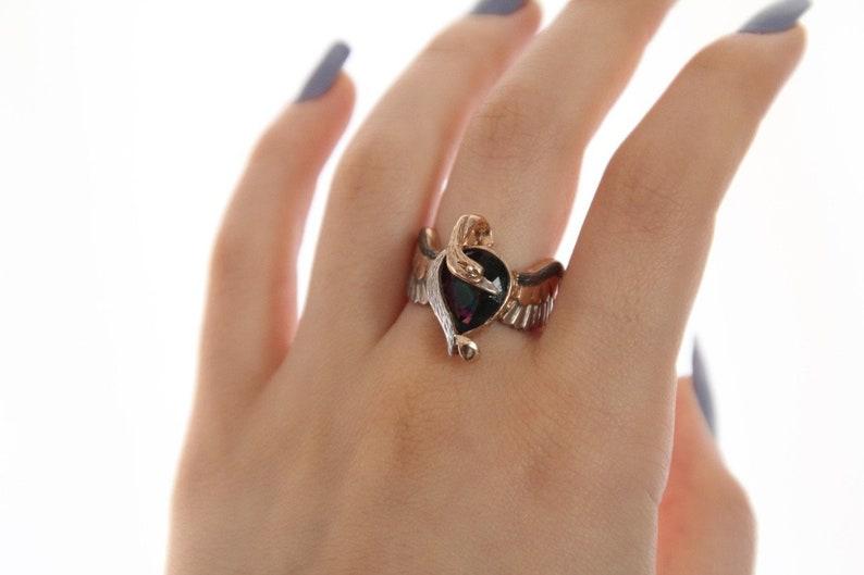 Personalized Emerald Anka Silver Ring Emerald Phoenix Ring Gift Ring Emerald Phoenix Mystical Mace Silver Ring 925 Sterling Silver Ring