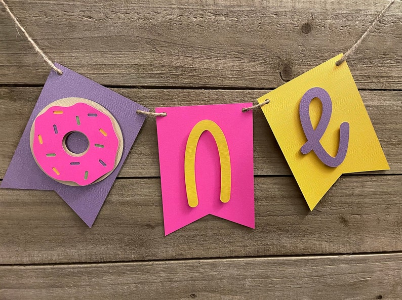 1st B-Day Highchair Banner Yellow First Birthday Banner Purple Pink Banner For Girl or Boy Donut Themed Birthday High Chair Banner