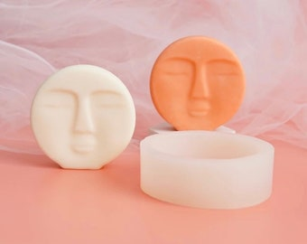 NEW DESIGN DIY Art Handmade Craft Round Shape Soap Mould - Luna Moon Face Silicone Candle Mould