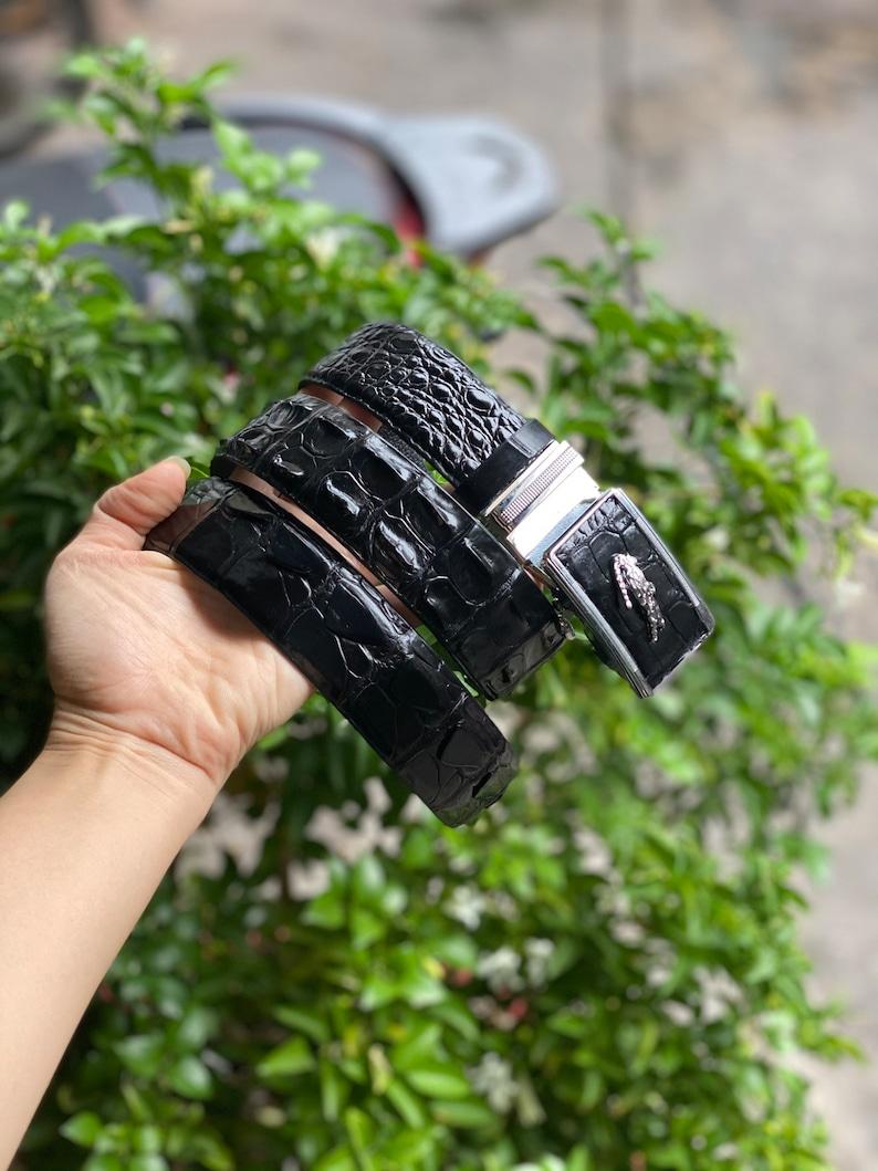 Black Crocodile Alligator Leather Belt for Men made to fit your waist size Mens handmade leather belt,hand stitched